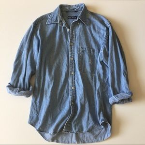 Vintage 90s Nautica Denim Button Up Shirt Size M